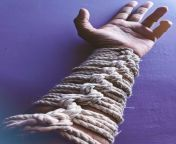 Rope Gauntlet, An aesthetic tie, which can be improvised on abdomen as a Rope Corset and on legs too. Used 6mm,10M Seasoned Cotton Rope from only rope xxx
